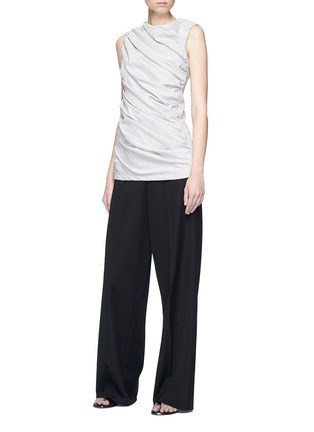 Figure View - Click To Enlarge - VICTORIA, VICTORIA BECKHAM - Asymmetric ruched sleeveless jersey top