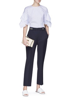 VICTORIA, VICTORIA BECKHAM Hook-and-eye waist cropped wool twill pants