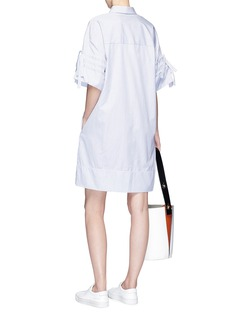 VICTORIA, VICTORIA BECKHAM Drawstring sleeve stripe poplin shirt dress
