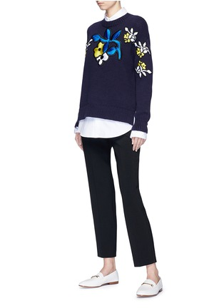 Figure View - Click To Enlarge - VICTORIA, VICTORIA BECKHAM - Floral patch cotton blend sweater