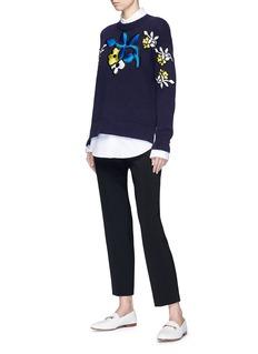 VICTORIA, VICTORIA BECKHAM Floral patch cotton blend sweater