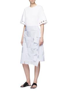 VICTORIA, VICTORIA BECKHAM Stripe basketweave effect poplin skirt