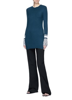 VICTORIA, VICTORIA BECKHAM Marled cuff rib knit sweater