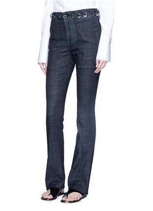 Front View - Click To Enlarge - VICTORIA, VICTORIA BECKHAM - Whipstitch waistband slim flared jeans