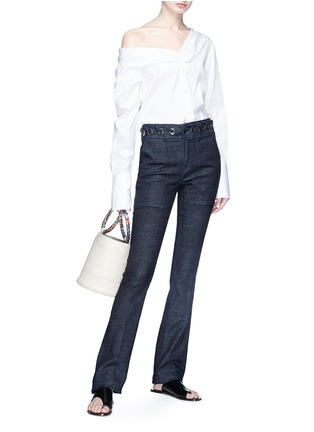 Figure View - Click To Enlarge - VICTORIA, VICTORIA BECKHAM - Whipstitch waistband slim flared jeans