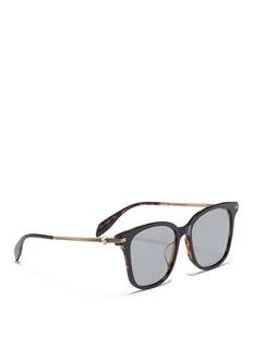 Alexander McQueen Skull hinge metal temple acetate square sunglasses