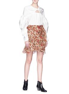 ISABEL MARANT  Ferna荷叶边花卉包裹式绉绸半身裙