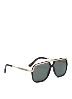 Gucci Metal rim acetate aviator sunglasses