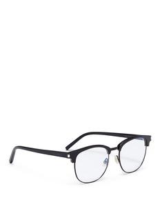 SAINT LAURENT Metal rim acetate square optical glasses