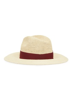Borsalino 'Capp' grosgrain bow crochet crown straw panama hat