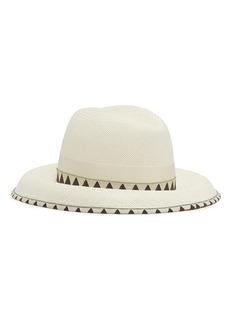 Borsalino 'Claudette' grosgrain bow geometric jacquard straw panama hat