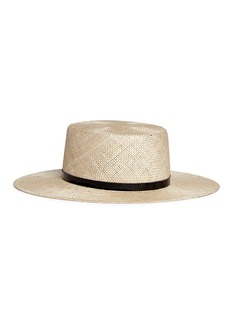 Janessa Leone 'Mason' leather band boater straw hat