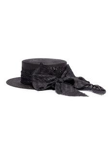 Maison Michel 'Kiki' ribbon bow straw canotier hat