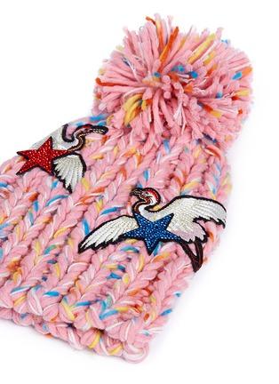 Detail View - Click To Enlarge - Venna - Strass star crane patch pompom rib knit beanie