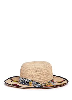 Venna Graphic print scarf cartoon patch panama hat