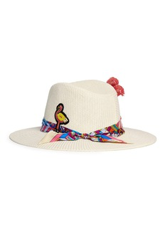 Venna Graphic print scarf flamingo patch feather panama hat
