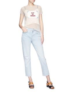 Tu Es Mon Trésor 'Out of Order' appliqué sheer mesh T-shirt