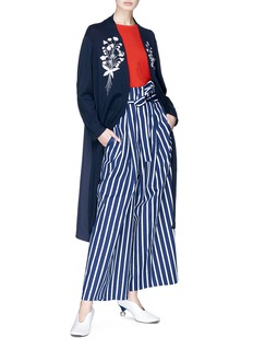 Muveil Belted stripe paperbag wide leg pants