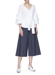 Muveil Ruffle sleeve wrap poplin blouse