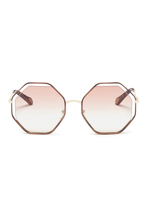 Main View - Click To Enlarge - Chloé - 'Poppy' metal octagon sunglasses