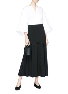 The Row 'Hanibi' ruched satin trim crepe maxi skirt