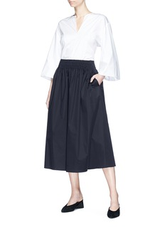 The Row 'Betsy' smocked poplin midi skirt