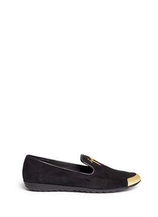 Main View - Click To Enlarge - Giuseppe Zanotti Design - 'Dalila' metal toe Hovercraft sole suede slip-ons