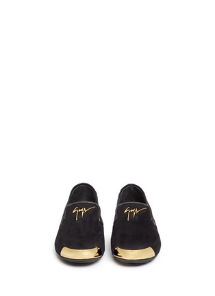 Figure View - Click To Enlarge - Giuseppe Zanotti Design - 'Dalila' metal toe Hovercraft sole suede slip-ons