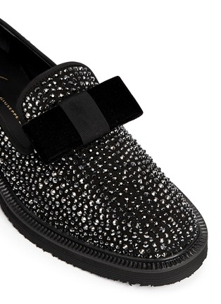 Detail View - Click To Enlarge - Giuseppe Zanotti Design - 'Hilary' velvet bow strass suede loafers