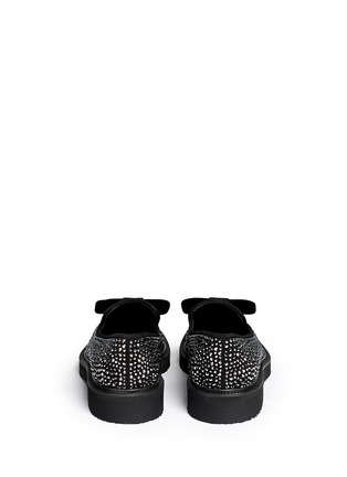Back View - Click To Enlarge - Giuseppe Zanotti Design - 'Hilary' velvet bow strass suede loafers