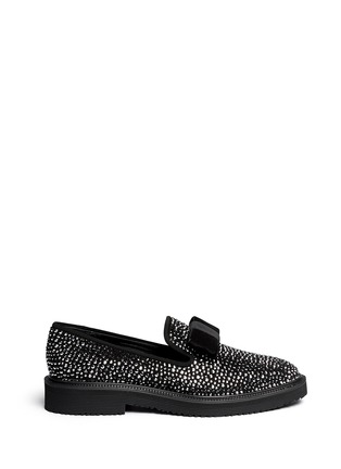 Main View - Click To Enlarge - Giuseppe Zanotti Design - 'Hilary' velvet bow strass suede loafers