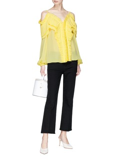 Emilio Pucci Tiered pleated ruffle off-shoulder silk crepe blouse