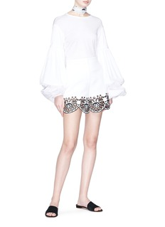 Emilio Pucci Scalloped broderie anglaise cuff piqué shorts