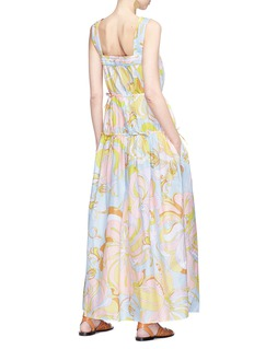Emilio Pucci Floral print tiered ruched silk maxi dress