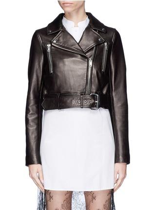 Main View - Click To Enlarge - LOUSY x Lane Crawford - Belted plonge lambskin leather cropped biker jacket