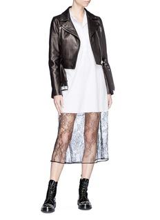 LOUSY x Lane Crawford Belted plonge lambskin leather cropped biker jacket