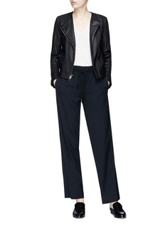 Vince Asymmetric zip washed lambskin leather jacket