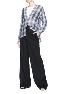 Vince Shadow plaid silk georgette blouse