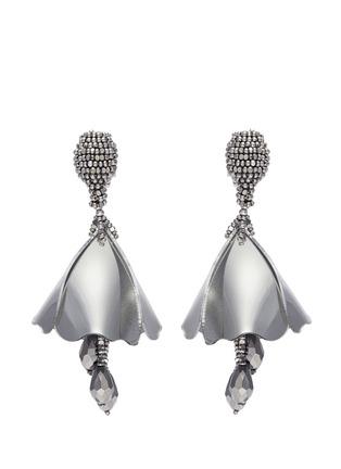 Main View - Click To Enlarge - Oscar de la Renta - 'Mini Impatiens' metallic petal glass crystal drop clip earrings