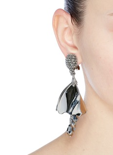 Oscar de la Renta 'Mini Impatiens' metallic petal glass crystal drop clip earrings