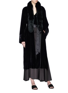 Elizabeth and James 'Mitzi' detachable fox fur scarf belted velvet robe jacket