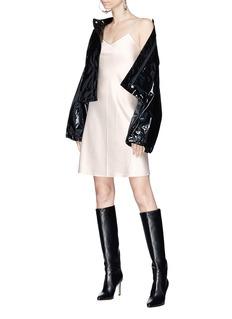 Helmut Lang Zip shoulder strap silk satin slip dress