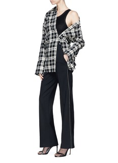 Helmut Lang Safety pin check plaid flannel shirt