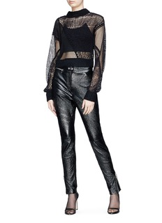 Helmut Lang 'Siouxie' fishnet knit patchwork cropped sweater