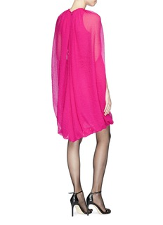 Helmut Lang Grid chiffon balloon cape dress