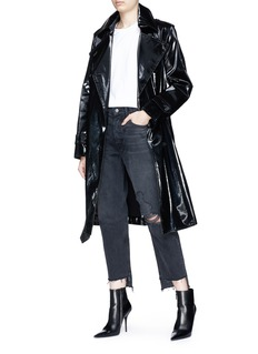 Helmut Lang Belted cotton blend patent trench coat
