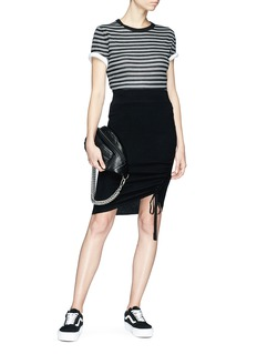 T By Alexander Wang Drawstring ruched Merino wool skirt