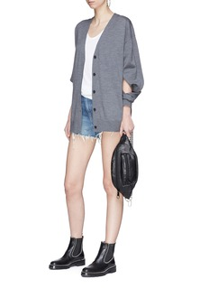 T By Alexander Wang Cut-out sleeve Merino wool cardigan