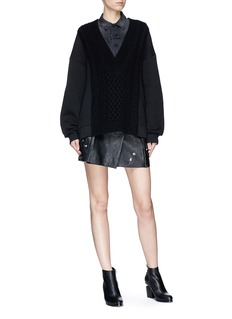 T By Alexander Wang Sweatshirt panel Merino wool knit sweater