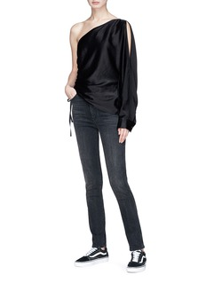 T By Alexander Wang Asymmetric single sleeve drawstring satin top